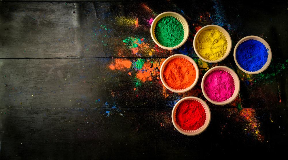 Powder Dye Bowls On Table