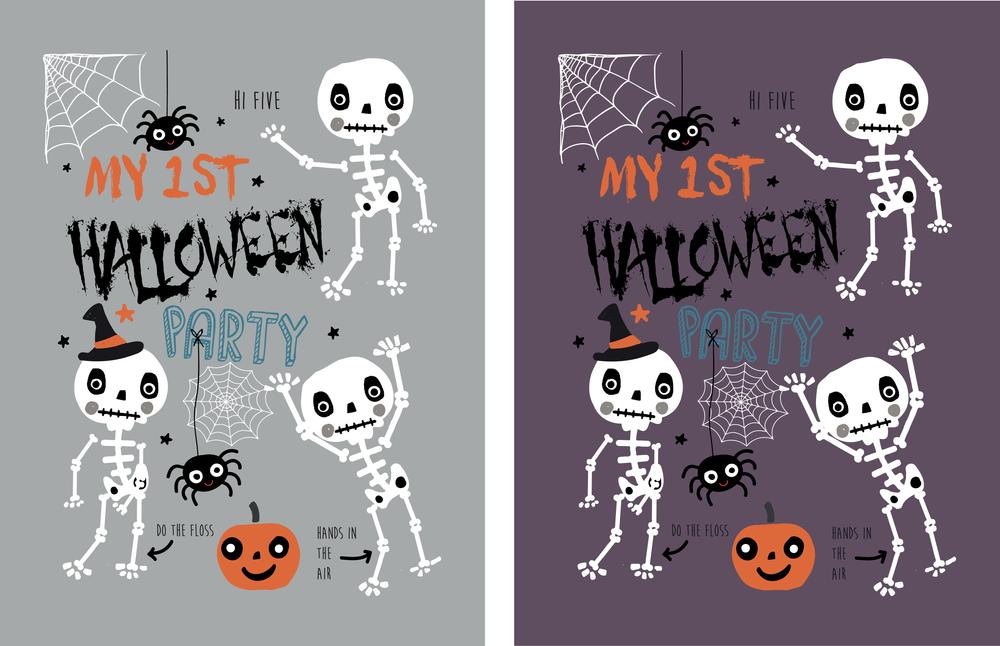 Halloween Skelton T Shirt Printing