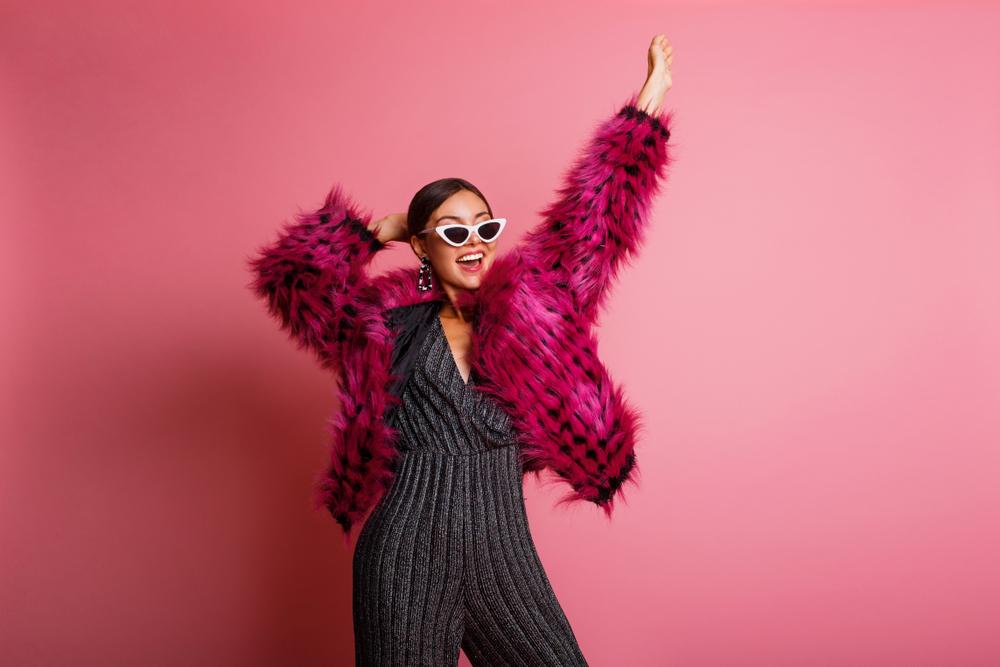 Girl Wearing Magenta Faux Fur Coat