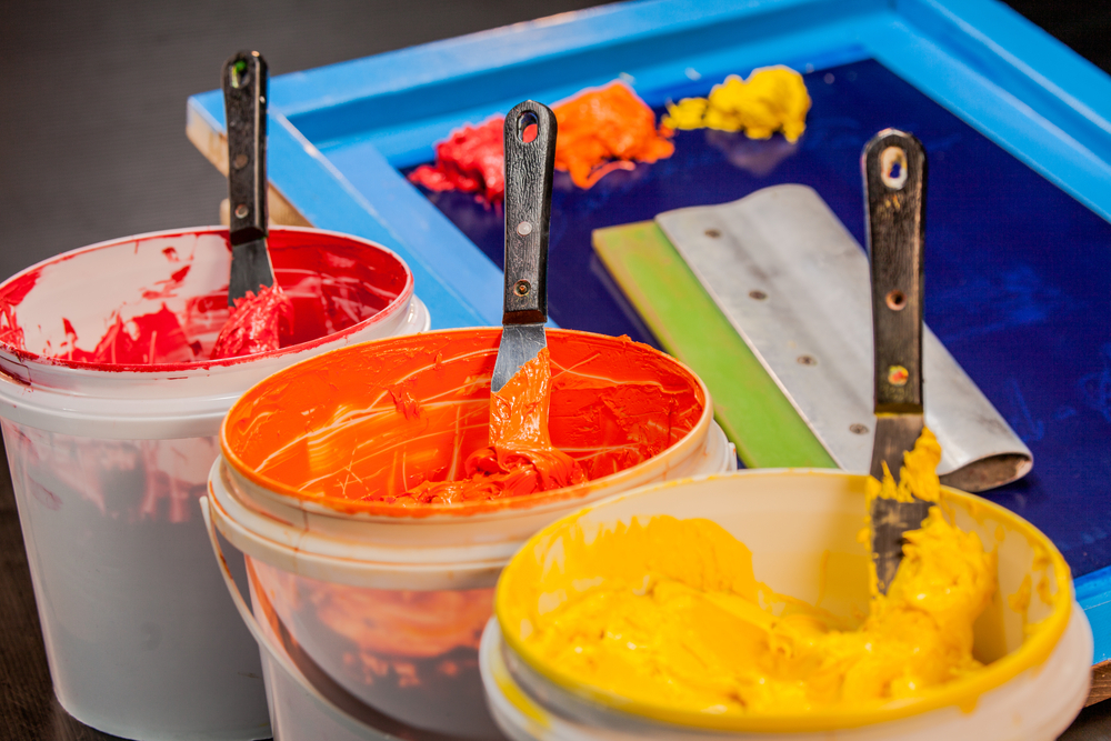 Different Color Paints Used For Screen Printing
